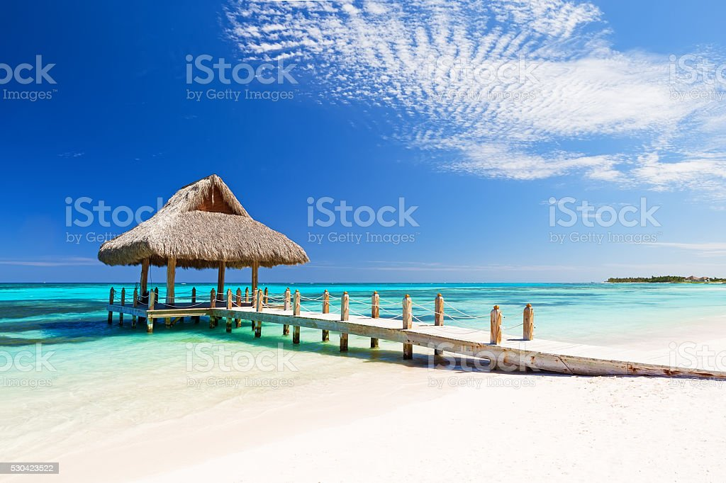Beautiful tropical white sandy beach stock photo