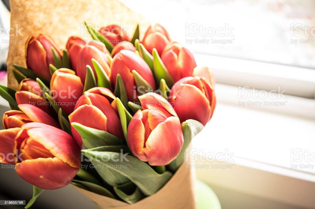 Beautiful tulips on a windowsill stock photo