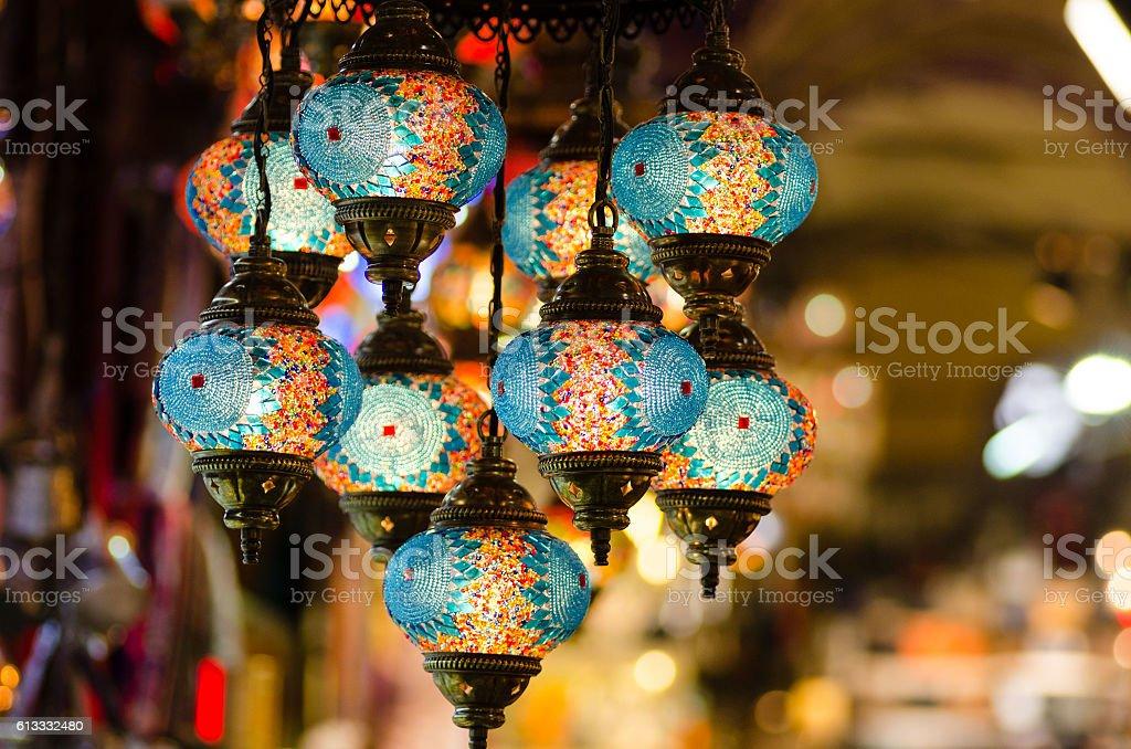 Beautiful turkish mosaic lamps on Istanbul bazaar stock photo