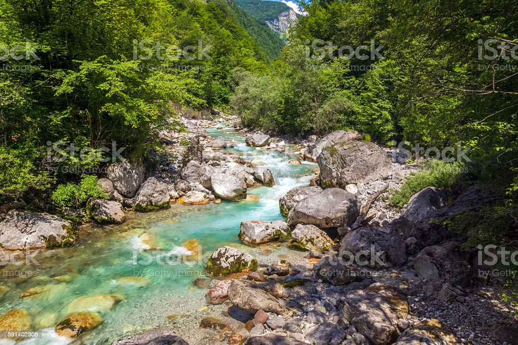 Beautiful turquoise  river in the Triglav National Park in Slove stock photo
