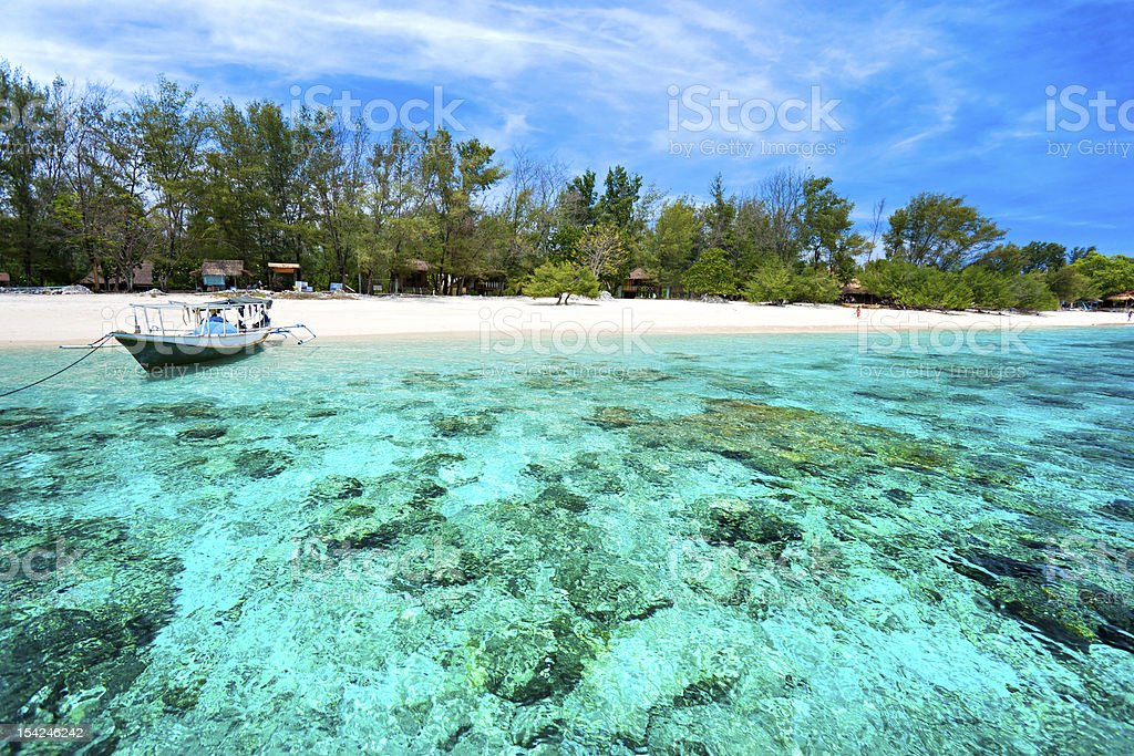 Beautiful turquoise sea of Gili Meno, Indonesia stock photo