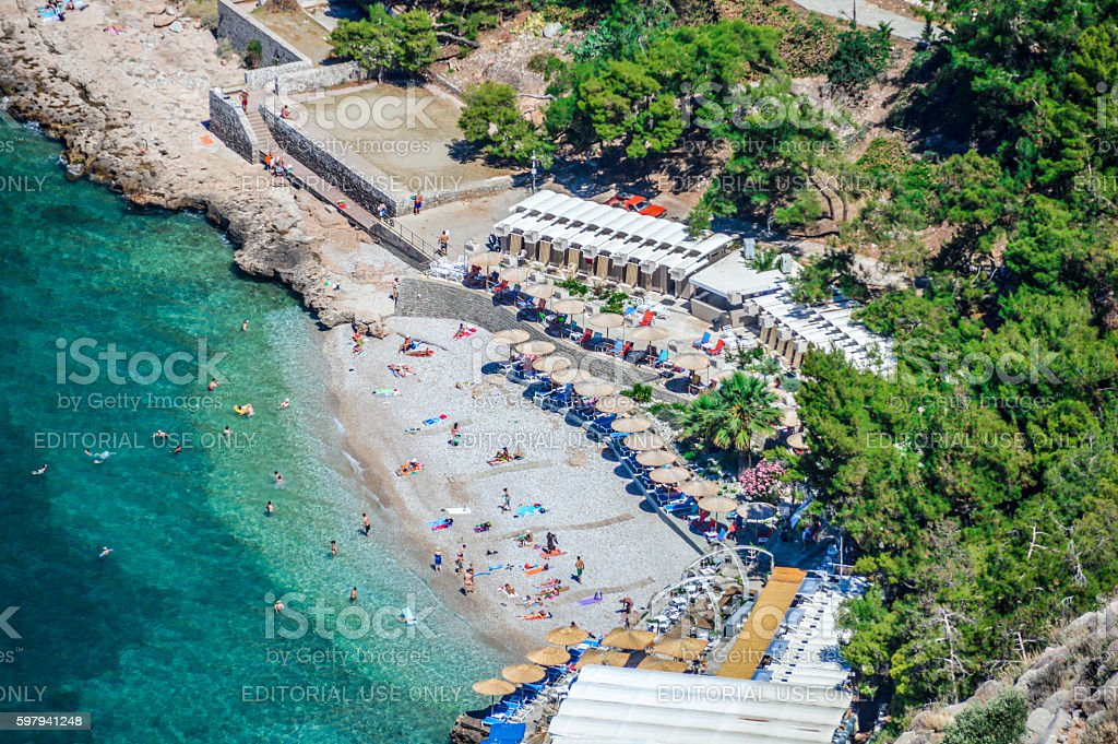 Beautiful turquoise water beach in Greece stock photo