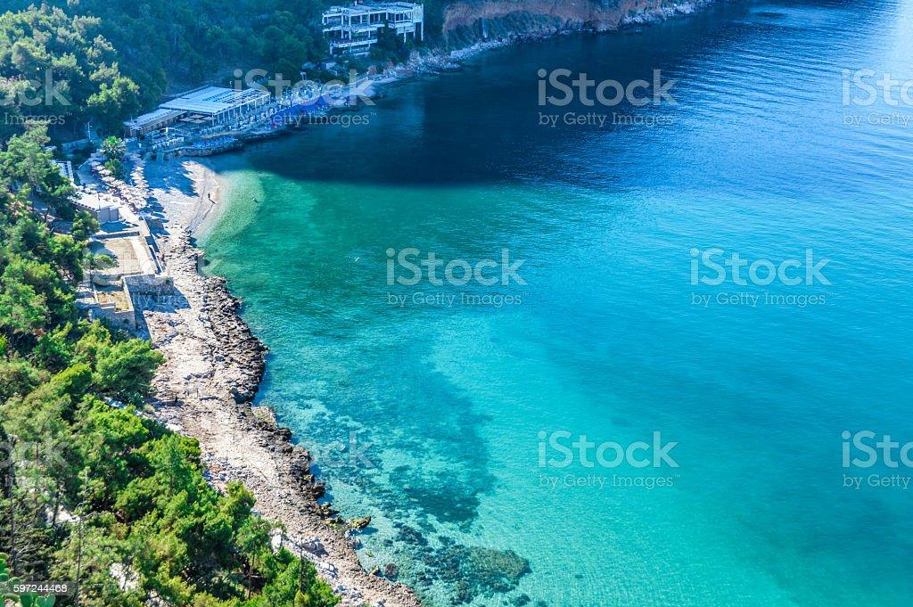 Beautiful turquoise water in Greece stock photo