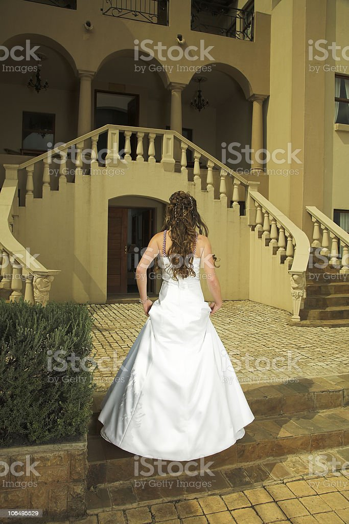 Beautiful Tuscan bride with brown hair royalty-free stock photo