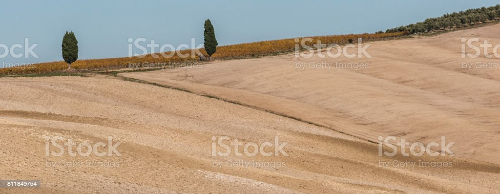 Beautiful tuscan landscape near San Quirico D'Orcia, with rolling hills in autumn. Located in Val D'Orcia countryside - Italy. stock photo