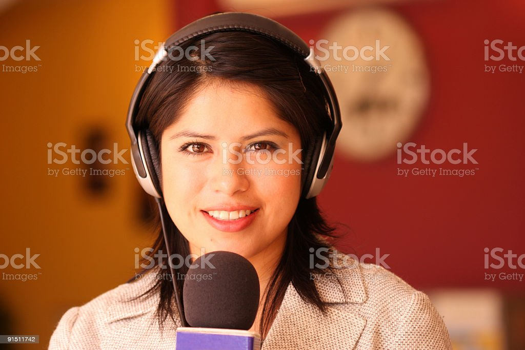 Beautiful TV Reporter Interviews royalty-free stock photo