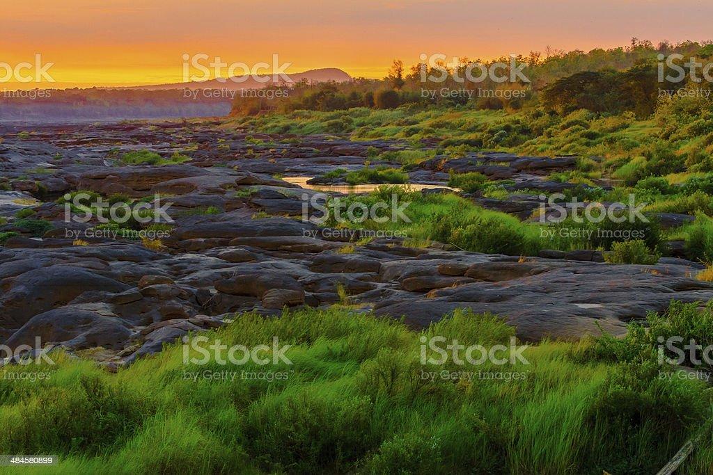 Beautiful twilight morning at Sam Phan Bok, Thailand stock photo