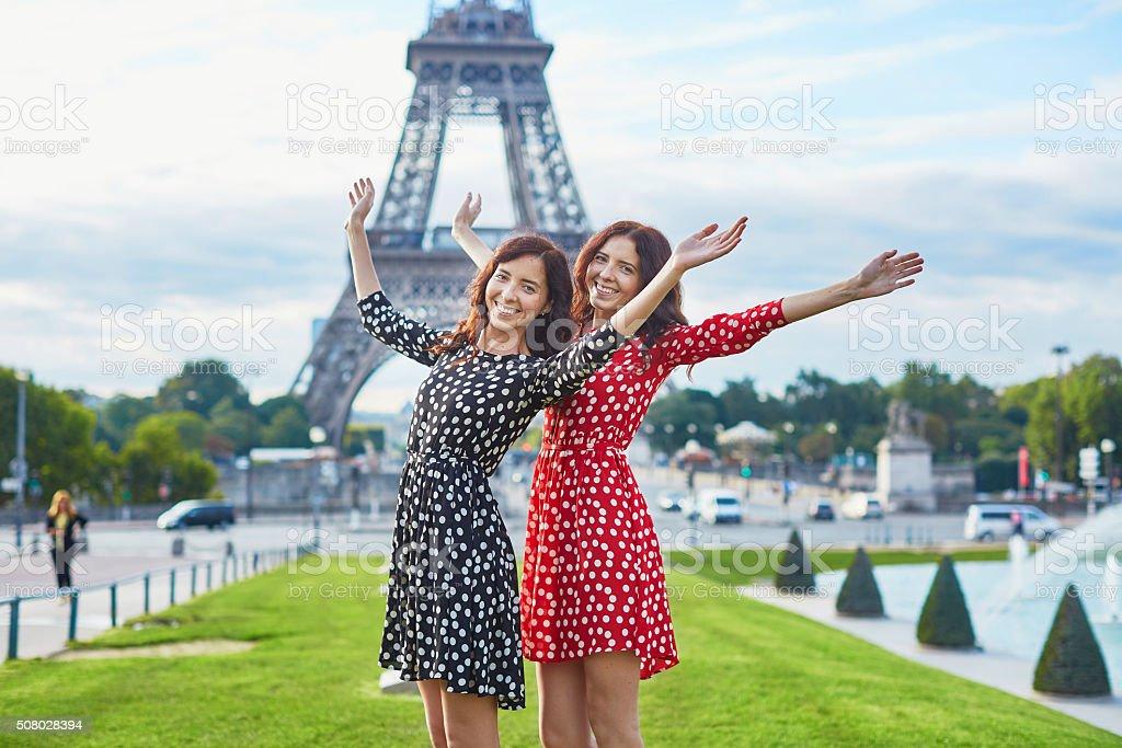 Beautiful twin sisters in Paris stock photo