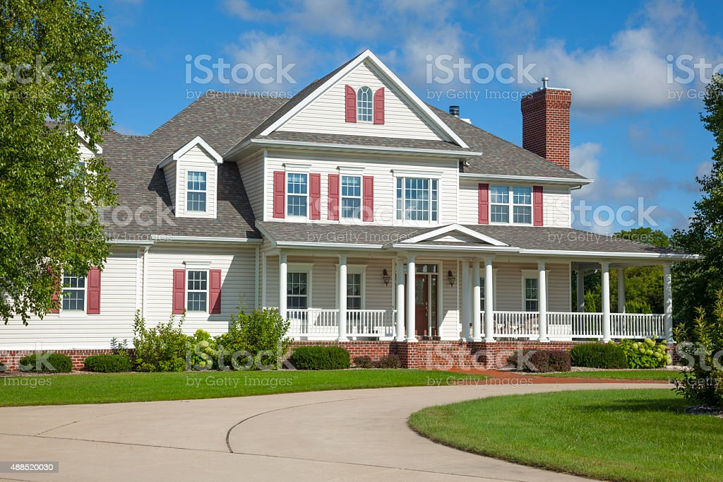 Beautiful two story country mansion home stock photo