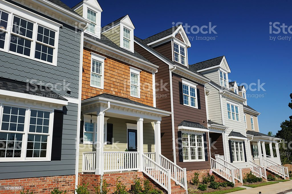 Beautiful two story town homes stock photo