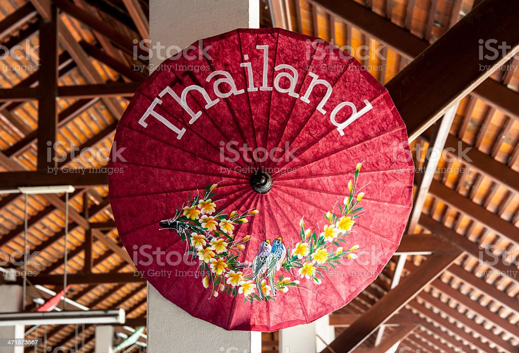 Beautiful umbrella with the wording of Thailand name. royalty-free stock photo