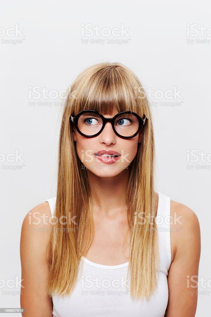 Beautiful unsure student stock photo