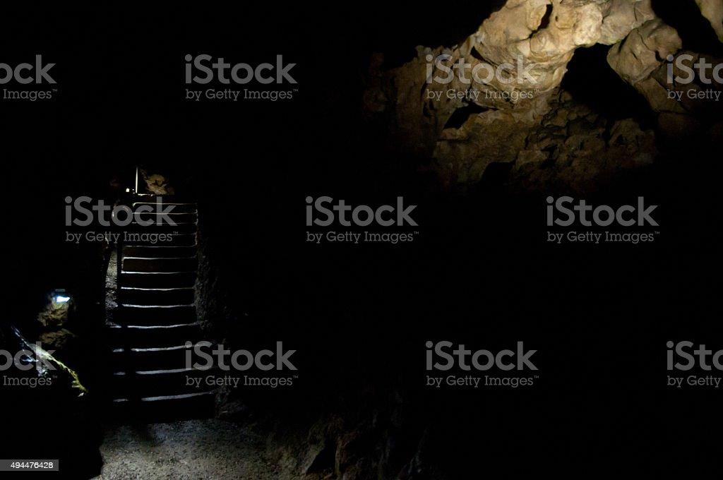 beautiful upstairs in dark cavern stock photo