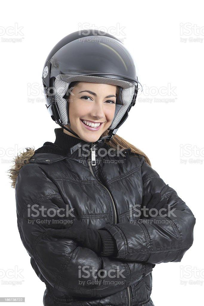 Beautiful urban biker woman with a helmet royalty-free stock photo