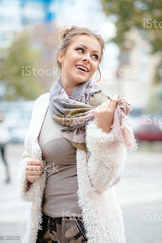 Beautiful urban girl with braces stock photo