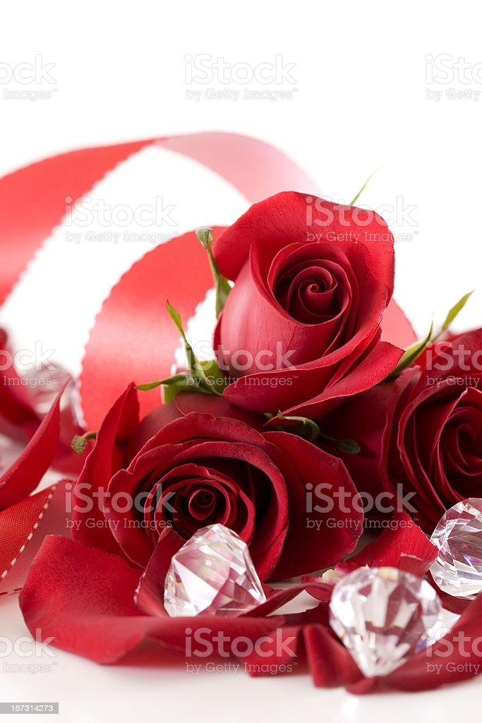 Beautiful Valentine Roses and Diamonds on White, Copy Space royalty-free stock photo
