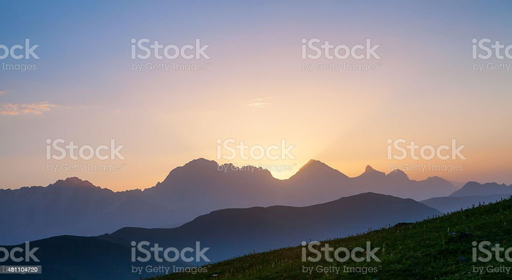 Beautiful valley in Caucasus mountains in Svaneti, Georgia stock photo