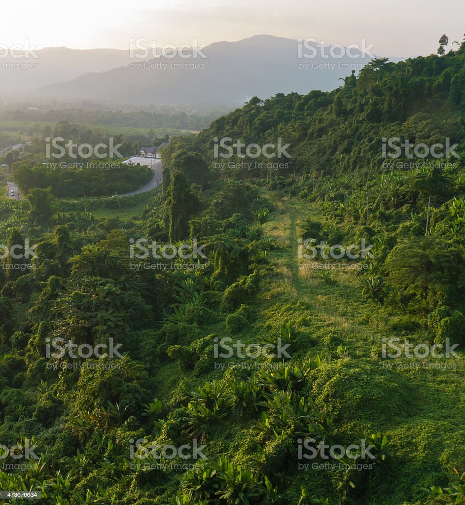 Beautiful valley mountains in sunset stock photo