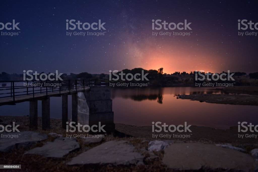 Beautiful Valley night view stock photo