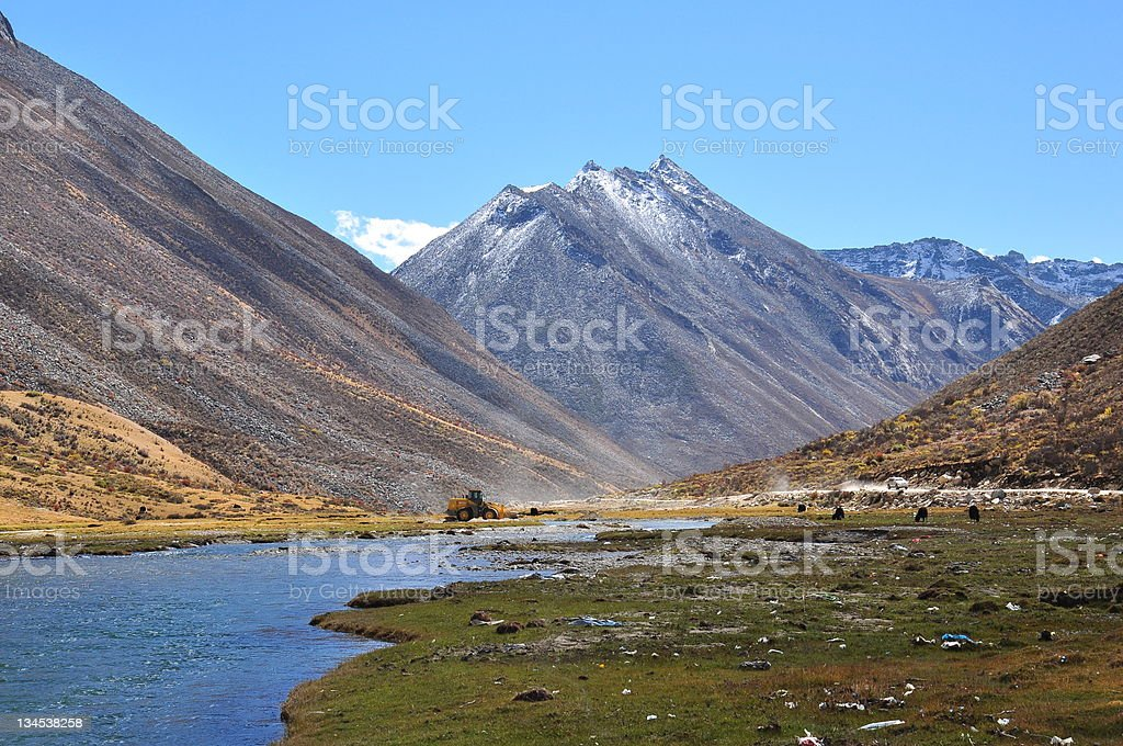 beautiful valley with snowcapped mountains and rivers in tibet royalty-free stock photo