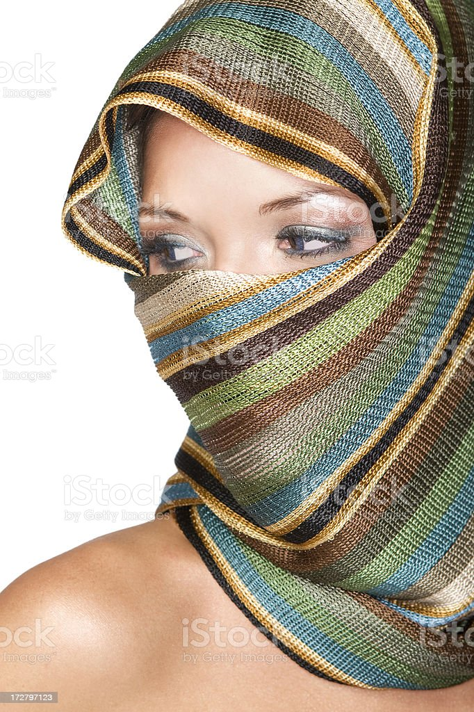 Beautiful Veiled Ethnic Young Woman with Eye Makeup, Copy Space royalty-free stock photo