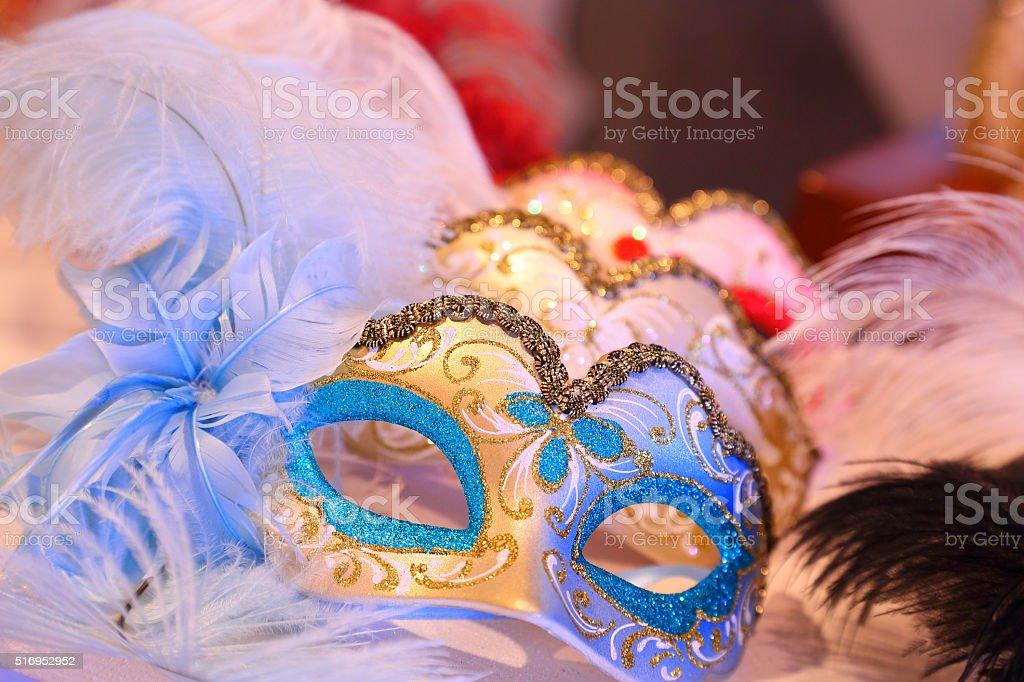 Beautiful Venice, Italy carnival face masks stock photo