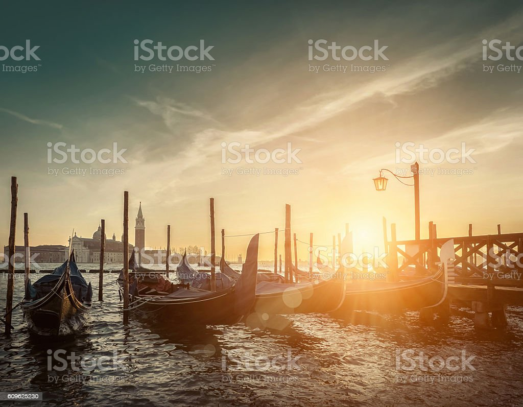 Beautiful Venice view under sunlight. stock photo