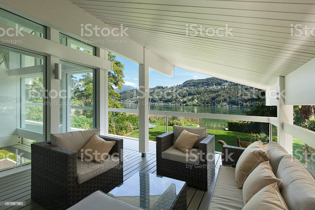 beautiful veranda with furniture stock photo