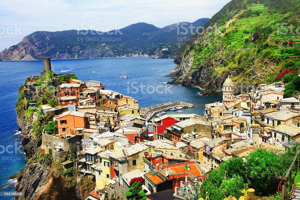 Beautiful Vernazza village,Cinque terre,Italy. stock photo