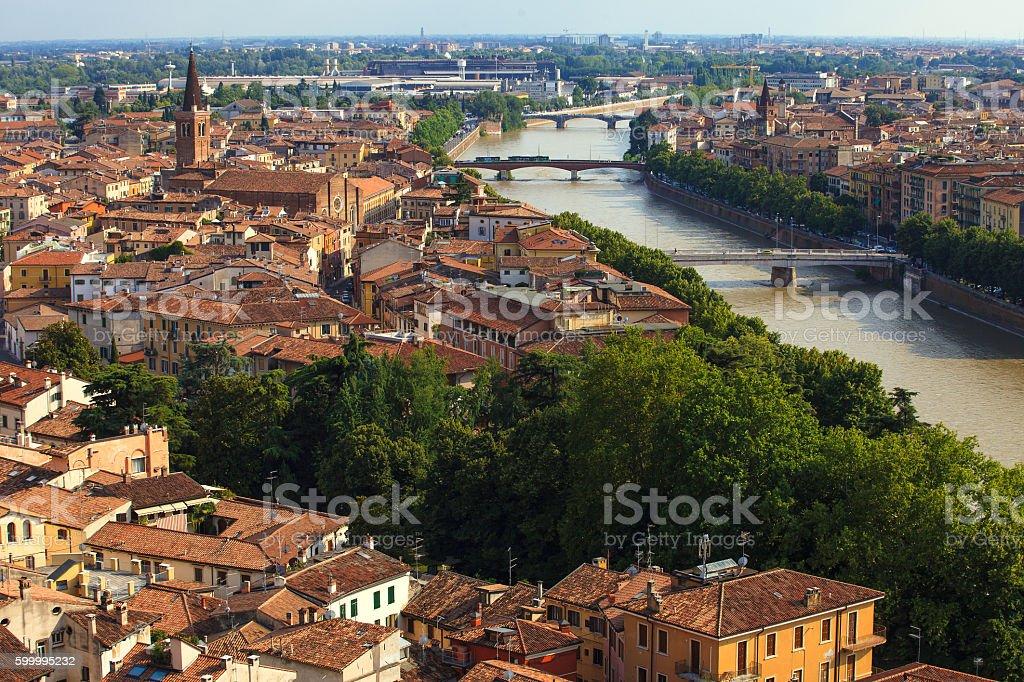 Beautiful Verona at evening stock photo
