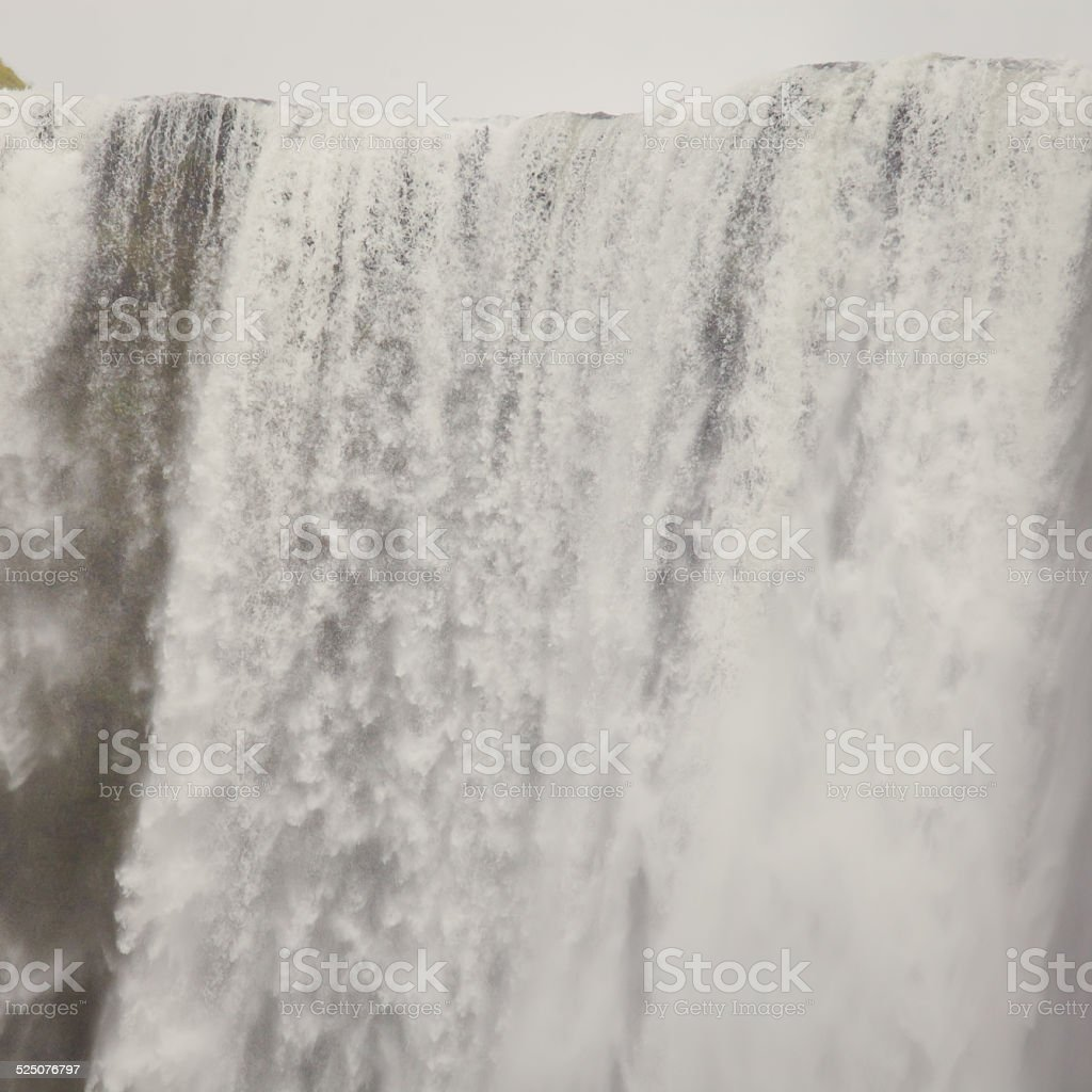 Beautiful vibrant panorama picture with view on waterfall in iceland stock photo