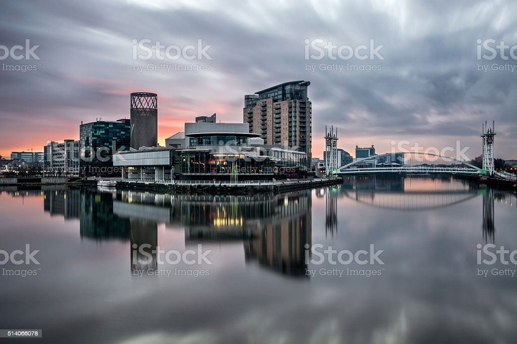 Beautiful Vibrant Sunrise With Reflections At Salford Quays. stock photo