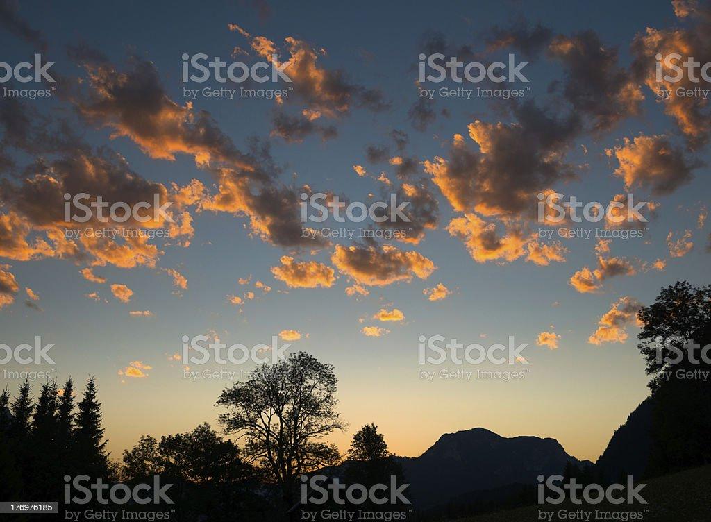 Beautiful Vibrant Sunset, Burning Clouds royalty-free stock photo