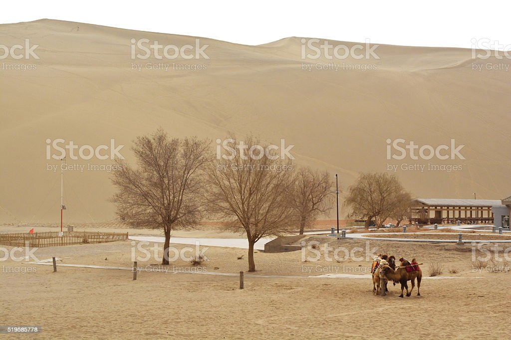 Beautiful view at Mingsha Mountain Dunhuang stock photo