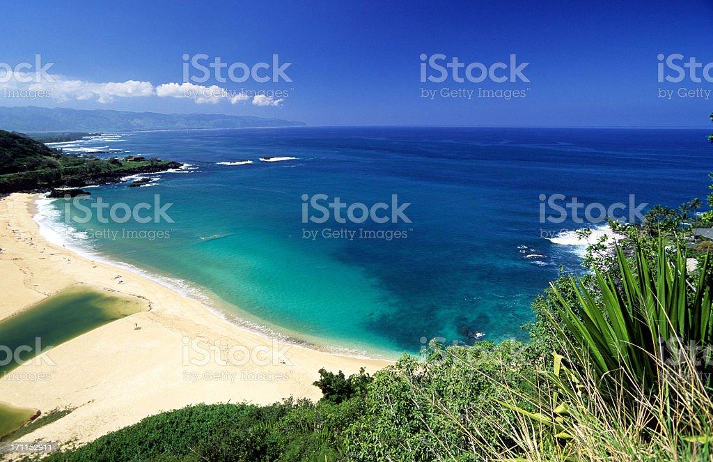 Beautiful view at North Shore Waimea Bay in Oahu, Hawaii stock photo