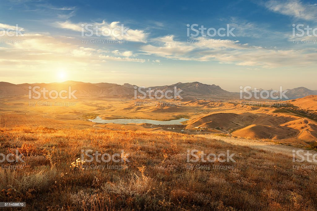 Beautiful view at the mountain valley at sunset in summer stock photo