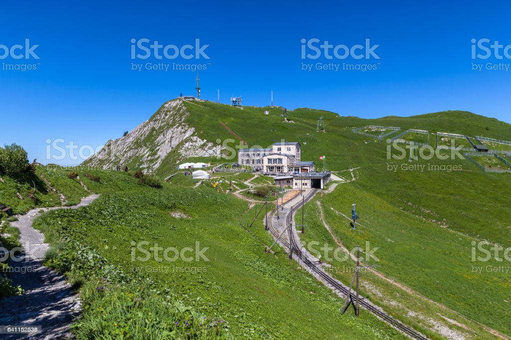 Beautiful view at the Rochers-de-Naye Station stock photo