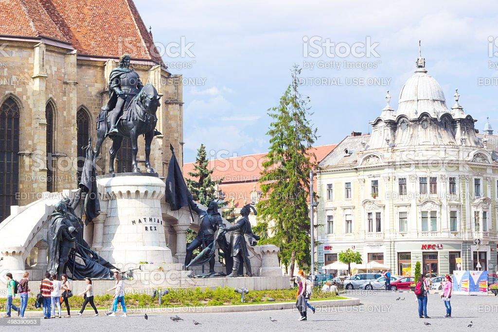 Beautiful view at Union Square, Cluj-Napoca stock photo