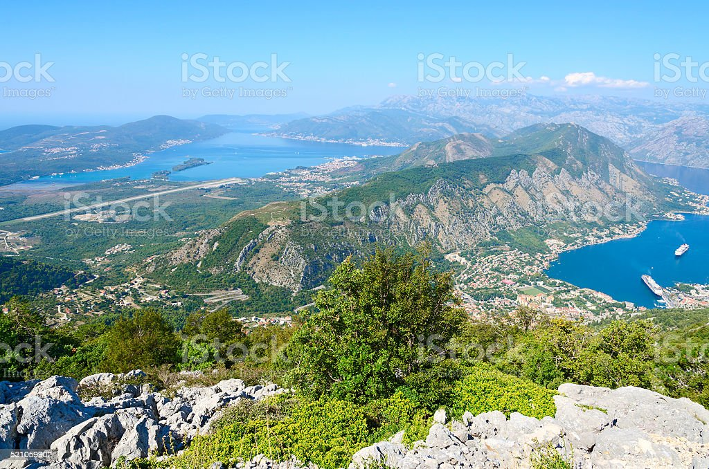 Beautiful view from above on Kotor and Tivat Bay, Montenegro stock photo