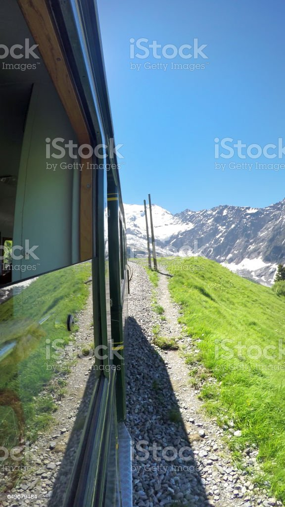 Beautiful View from Red Train Going To Montenvers Mer de Glace Station During Summer Day-Mont Blanc Massif,Chamonix,France stock photo
