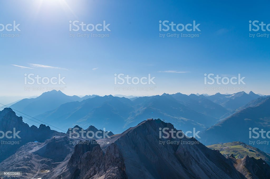 Beautiful view from the mountain Valluga, Lechtal alps, Austria stock photo