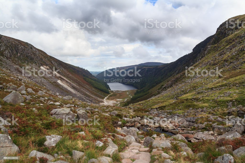 Beautiful view from the mountains to the river and lake in autumn Ireland stock photo