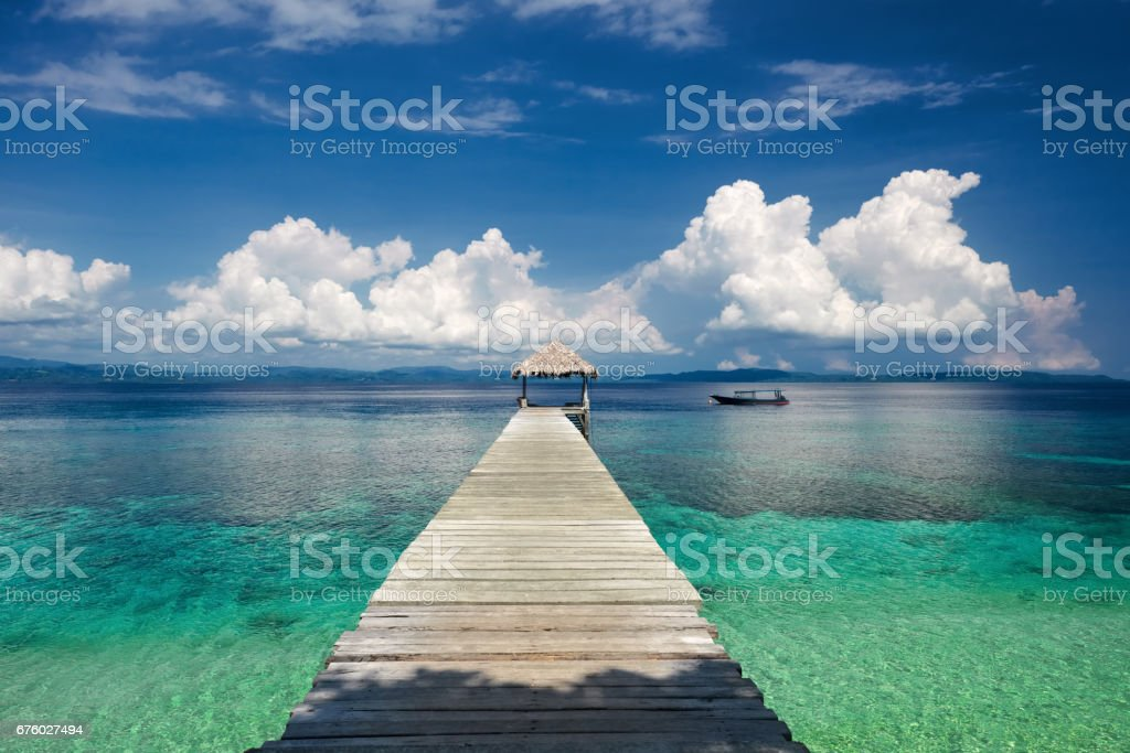 Beautiful view from the pier on the sea and mountain stock photo