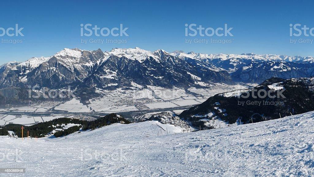 Beautiful view from the Pizol ski area, Swiss Alps stock photo