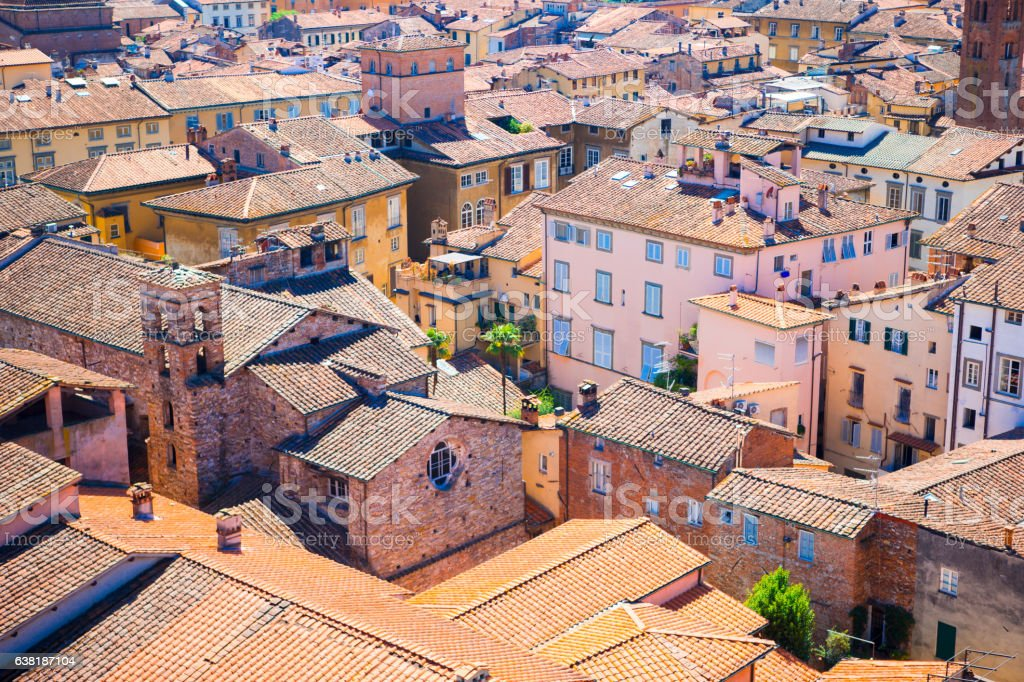 Beautiful view from the roof of ancient old buildings with stock photo