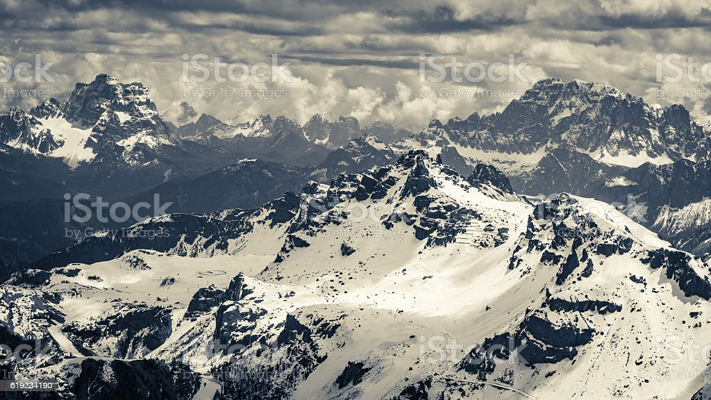Beautiful view from the top of Sass Pordoi, Dolomites, Italy stock photo