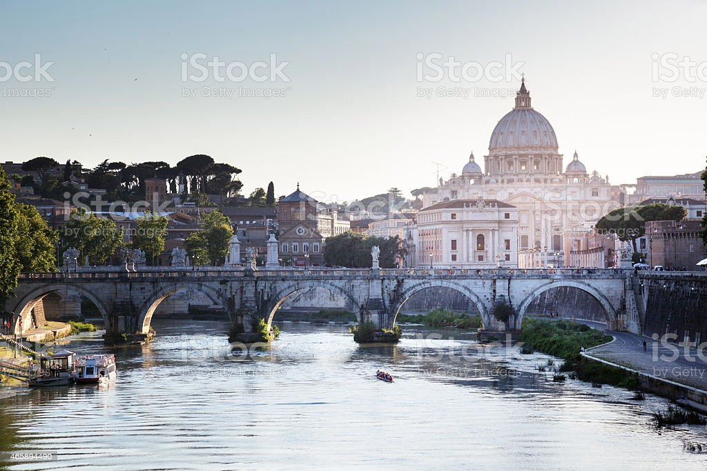 Beautiful view from Tiber and St Peter Basilica in Vatican stock photo