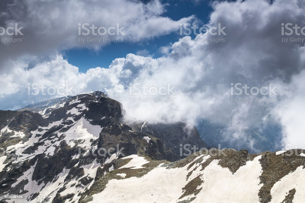 Beautiful view high in the mountains stock photo