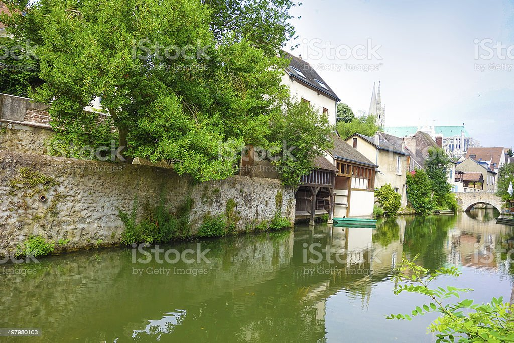 beautiful view house in France stock photo