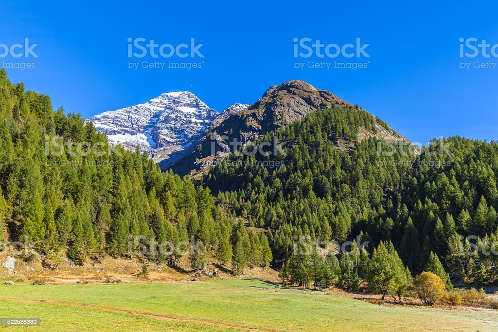 Beautiful view in Loetschental valley stock photo